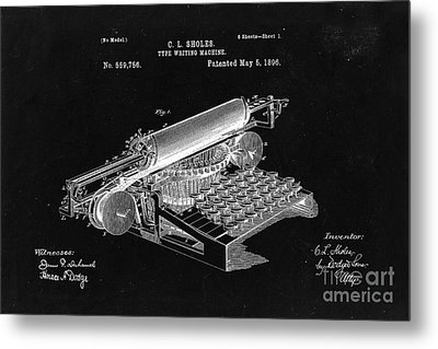 Type Writing Machine Patent From 1896  - Black Metal Print