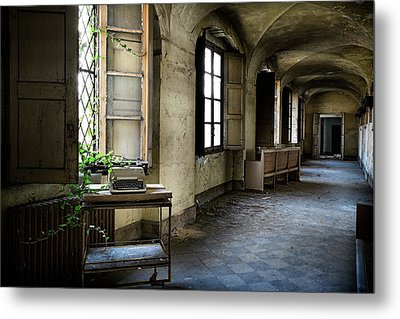 Metal Print featuring the photograph Typewriter Story Of Abandoned Building - Urbex Exploration by Dirk Ercken