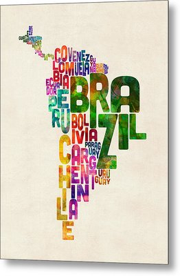 Typography Map Of Central And South America Metal Print