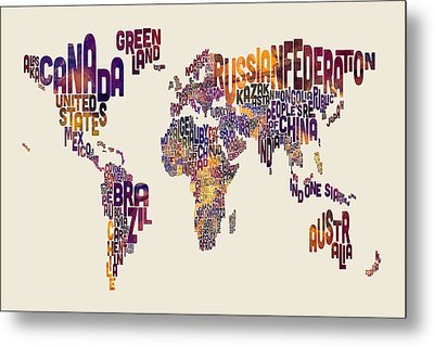 Typography Text Map Of The World Map Metal Print by Michael Tompsett