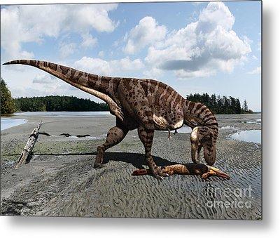 Tyrannosaurus Enjoying Seafood Metal Print