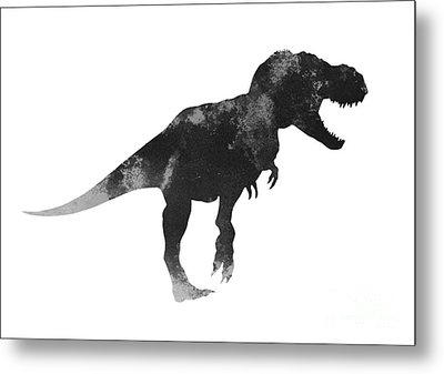 Tyrannosaurus Figurine Watercolor Painting Metal Print