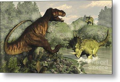 Tyrannosaurus Rex Fighting Metal Print by Elena Duvernay