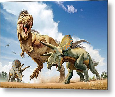 Tyrannosaurus Rex Fighting With Two Metal Print by Mohamad Haghani