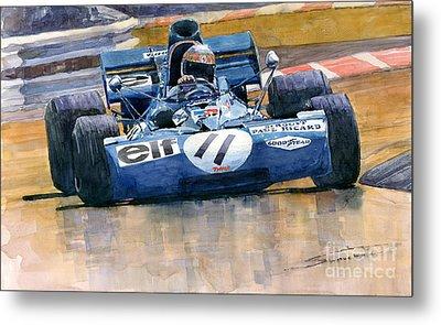 Tyrrell Ford 003 Jackie Stewart 1971 French Gp Metal Print by Yuriy  Shevchuk