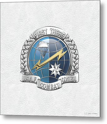 U. S.  Air Force Combat Control Teams - Combat Controller C C T Badge Over White Leather Metal Print by Serge Averbukh