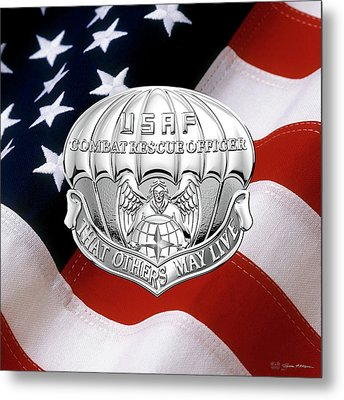 U. S.  Air Force Combat Rescue Officer - C R O Badge Over American Flag Metal Print by Serge Averbukh