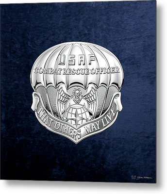 U. S.  Air Force Combat Rescue Officer - C R O Badge Over Blue Velvet Metal Print by Serge Averbukh