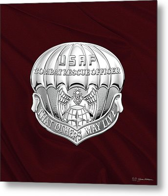 U. S.  Air Force Combat Rescue Officer - C R O Badge Over Maroon Felt Metal Print by Serge Averbukh