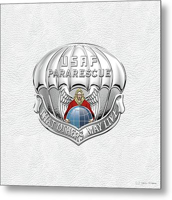 U. S.  Air Force Pararescuemen - P J Badge Over White Leather Metal Print by Serge Averbukh
