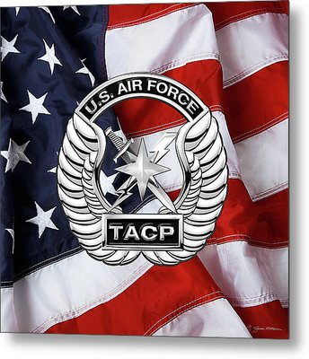 Metal Print featuring the digital art U. S.  Air Force Tactical Air Control Party -  T A C P  Badge Over American Flag by Serge Averbukh