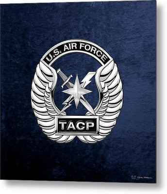 Metal Print featuring the digital art U. S.  Air Force Tactical Air Control Party -  T A C P  Badge Over Blue Velvet by Serge Averbukh