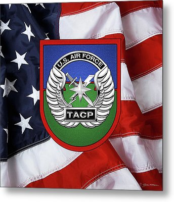 Metal Print featuring the digital art U. S.  Air Force Tactical Air Control Party -  T A C P  Beret Flash With Crest Over American Flag by Serge Averbukh