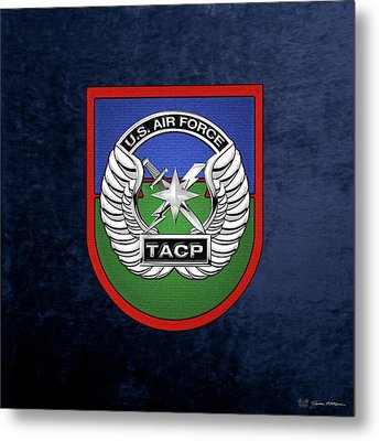 Metal Print featuring the digital art U. S.  Air Force Tactical Air Control Party -  T A C P  Beret Flash With Crest Over Blue Velvet by Serge Averbukh