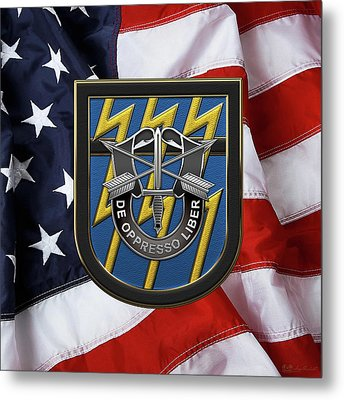 U. S.  Army 12th Special Forces Group - 12 S F G  Beret Flash Over American Flag Metal Print by Serge Averbukh