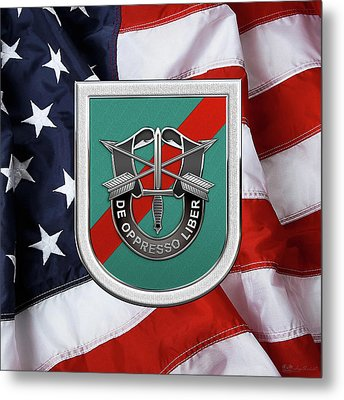 U. S.  Army 20th Special Forces Group - 20 S F G  Beret Flash Over American Flag Metal Print by Serge Averbukh