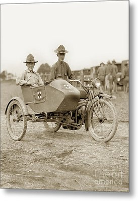 U. S. Army Motorcycle Ambulance Corps Ww I  1918 Metal Print by California Views Mr Pat Hathaway Archives