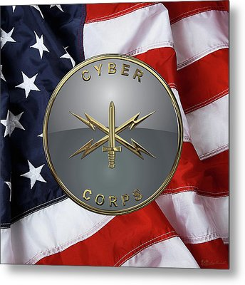 U. S.  Army Cyber Corps - Branch Plaque Over American Flag Metal Print by Serge Averbukh