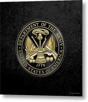 U. S. Army Seal Black Edition Over Black Velvet Metal Print by Serge Averbukh