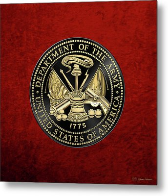 U. S. Army Seal Black Edition Over Red Velvet Metal Print by Serge Averbukh