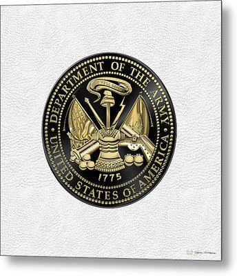 U. S. Army Seal Black Edition Over White Leather Metal Print by Serge Averbukh