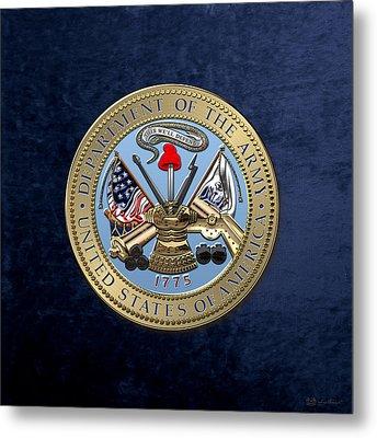 U. S. Army Seal Over Blue Velvet Metal Print by Serge Averbukh
