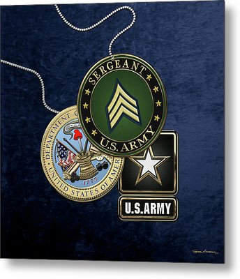 U. S. Army Sergeant  -  S G T  Rank Insignia With Army Seal And Logo Over Blue Velvet Metal Print by Serge Averbukh