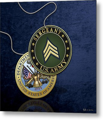 U. S. Army Sergeant - S G T Rank Insignia And Army Seal Over Blue Velvet Metal Print by Serge Averbukh
