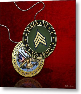U. S. Army Sergeant - S G T Rank Insignia And Army Seal Over Red Velvet Metal Print by Serge Averbukh