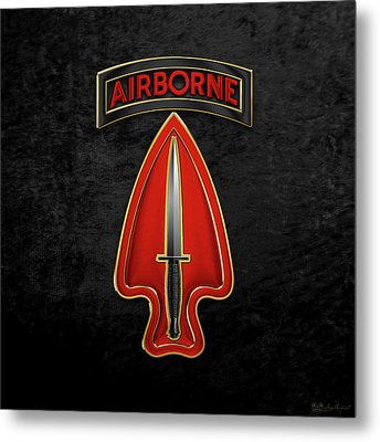 U. S.  Army Special Operations Command  -  U S A S O C    C S I B Over Black Velvet Metal Print by Serge Averbukh