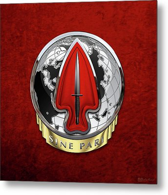 U. S.  Army Special Operations Command  -  U S A S O C    D U I Over Red Velvet Metal Print by Serge Averbukh