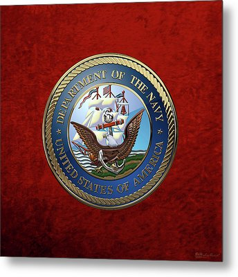 U. S.  Navy  -  U S N Emblem Over Red Velvet Metal Print by Serge Averbukh