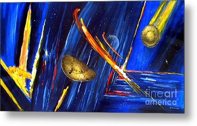Metal Print featuring the painting UFO by Arturas Slapsys