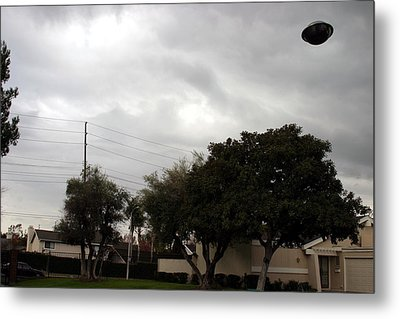 Ufo Over My Neighborhood  Metal Print by Michael Ledray