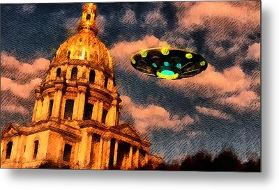Ufo Over Paris Metal Print by Raphael Terra