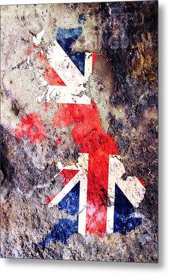 Uk Flag Map Metal Print by Michael Tompsett