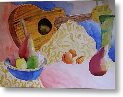 Metal Print featuring the painting Ukelele by Beverley Harper Tinsley