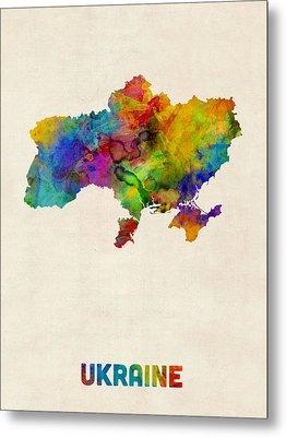 Ukraine Watercolor Map Metal Print by Michael Tompsett