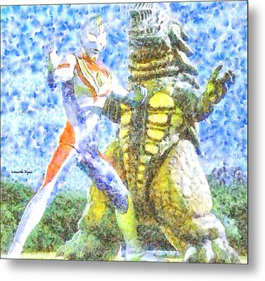 Ultraman Fighting - Pa Metal Print by Leonardo Digenio