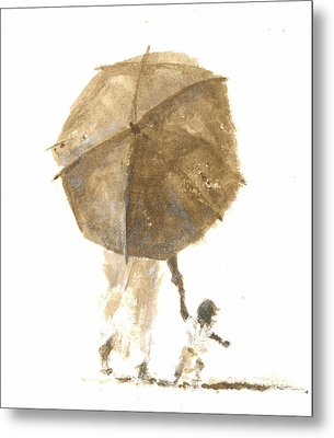 Umbrella And Child One Metal Print by Lincoln Seligman