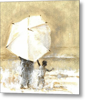 Umbrella And Child Two Metal Print by Lincoln Seligman