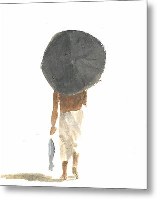 Umbrella And Fish Metal Print by Lincoln Seligman