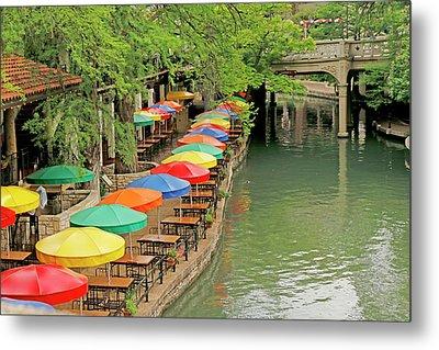 Metal Print featuring the photograph Umbrellas Along River Walk - San Antonio by Art Block Collections
