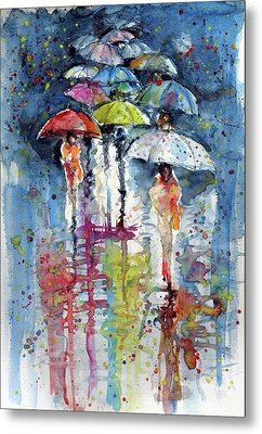 Umbrellas In Rain Metal Print