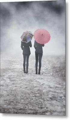 Umbrellas In The Mist Metal Print by Joana Kruse