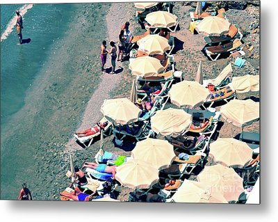 Metal Print featuring the photograph Umbrellas On The Beach - Nerja by Mary Machare