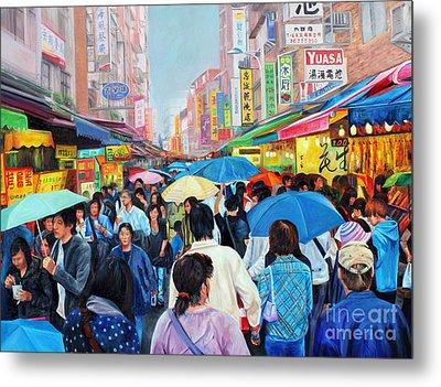 Umbrellas Up In Taiwan Metal Print by Karen Cade