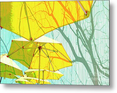 Umbrellas Yellow Metal Print