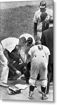 Umpire Down From Foul Tip Metal Print