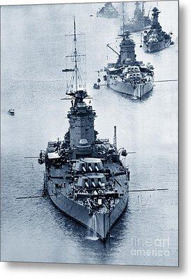 Hms Nelson And Hms Rodney Battleships And Battlecruisers Hms Hood Circa 1941 Metal Print